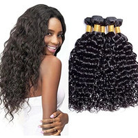 Maxine Unprocessed Brazilian Virgin Water Hair Extensions 3 Bundles, 100% Pure Real Brazilian Human Hair Weave, 10A Grade, Natural Black Color, Full Head 12 14 16inches