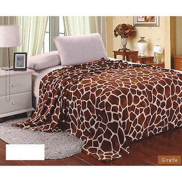 Super Soft Polyester Microplush Brown/Taupe Giraffe Skin Print Blanket