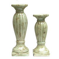 Crestview Collection Set of 2 Candleholders in Tuscan White Crackle Finish, Ceramic candles not included