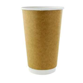 Packnwood 210GCDW20K 20 oz Double Wall Kraft Compostable Paper Cups 3.5 x 6.3 in.