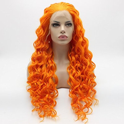 Lushy Kinky Curly Long Orange Wig Heavy Density Half Hand Tied Heat Resistant Synthetic Lace Front Wig