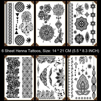 Leoars 6 Sheets Black Henna Tattoos Body Art Paints Tattoo Sticker Lace Temporary Tattoos for Girls Women Mandala, Elephant, Dreamcatcher Patterns