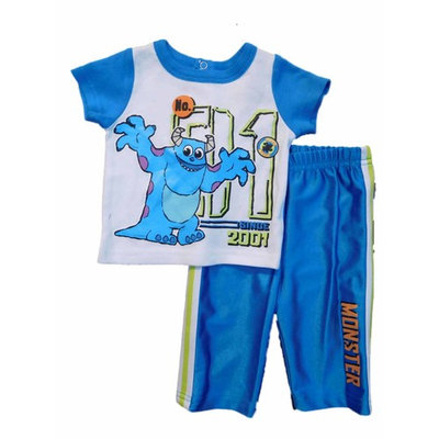 Disney Monsters Inc. Infant Boys Blue 2 Piece Sully Shirt & Pants Set 0-3m [baby_clothing_size: baby_clothing_size-3months]