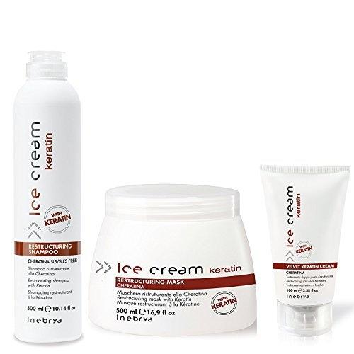 Inebrya Ice Cream Keratin Shampoo/Mask/Cream Set Medium