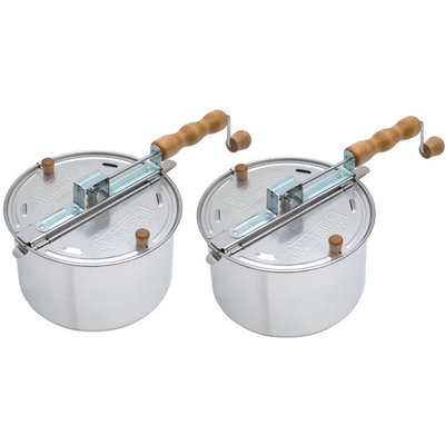 Wabash Valley Farms Whirley Pop Stovetop Popcorn Popper (Original Silver) 2 Pack