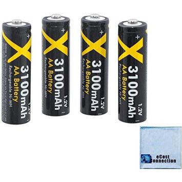 8 Acuvar AA Rechargeable NiMH Batteries 3100mAH (Black)