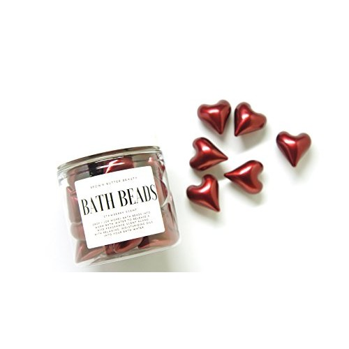Bath Oil Beads   Bath Beads Pearls   Bath Beads for Woman   Bath Beads Moisturizing   Red Heart Shaped   Strawberry Scent [Strawberry]
