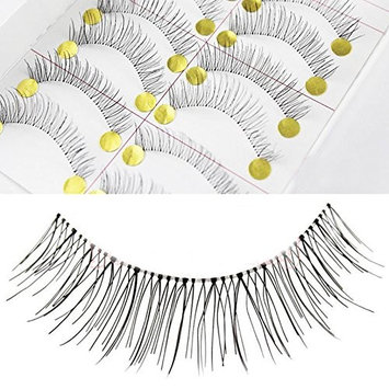 Beauty II 10 Pairs/Pack Girl Lady Daily Party Makeup Fake False Eyelashes Extension Eye Lashes Natural Look Black Long Transparent Stem Handmade Multipack 218, Make You More Confident and Beautiful
