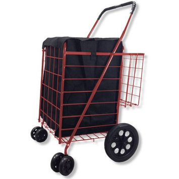 Lavohome Double Basket RED Folding Utility Cart Folds Up Rolling Storage Shopping Carrier with FREE LINER