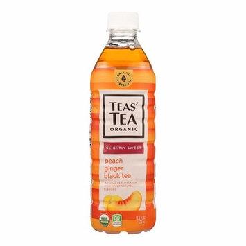 Tea's Organic Black Tea - Lightly Sweet Peach Ginger - Pack of 12 - 16.9 Fl Oz.