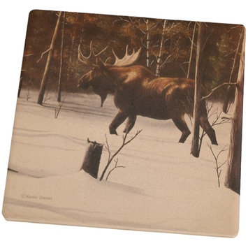 Animal World Moose Winter Woodlands Set of 4 Square Sandstone Coasters