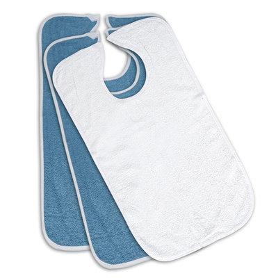 3-Pack - Blue or White Option - 100% Cotton Reusable Terry Adult Bib - Patient Bib (2 Blue & 1 White)