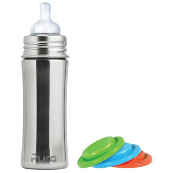 Pura Kiki Stainless Steel Infant Bottle, Natural, Silicone Sleeve, 11 Ounce, Plus Set of 3 Silicone Sealing Disks