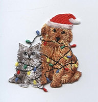 Wholesale Applique Christmas Puppy Dog - Kitten Cat - Pets - Iron on Applique/Embroidered Patch