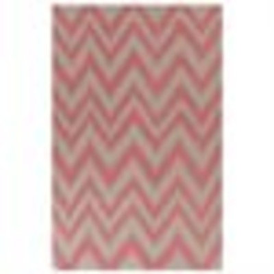 5' x 8' Shock Wave Pink and Gray Hand Woven Wool Area Throw Rug