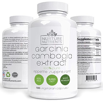 Nurture Nutrients 80% HCA Garcinia Cambogia Extract Potent Appetite Suppressant and Fat Burner Supplement For Natural Healthy and Rapid Weight Loss - 60 Capsules