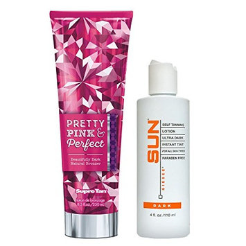 Pretty Pink & Perfect Natural Bronzer Tanning Lotion 8.5 oz + SUN LABORATORIES Ultra Dark Self Tan Lotion (4 oz) Self Tanner - Natural Sunless Tanning