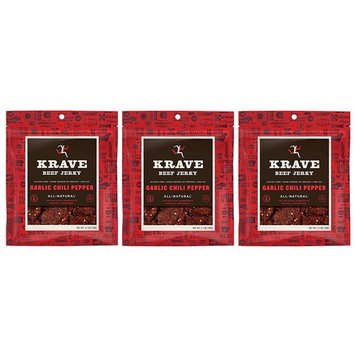 All Natural Beef Jerky Spicy - Garlic Chili Pepper - 2.7 Ounces Each Bag (Pack of 3)