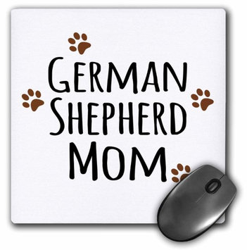 3dRose German Shepherd Dog Mom - Alsatian - Doggie by breed - brown muddy paw prints - doggy lover mama, Mouse Pad, 8 by 8 inches