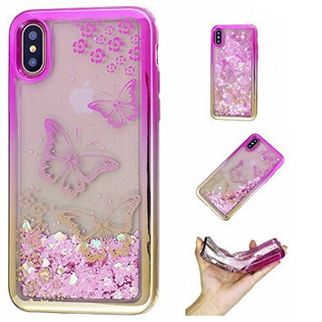 Urberry Iphone X Case, Beautiful Design Running Glitter Cover, Moving Liquid Wine Glass Design Case for iPhone X with a Screen Protector