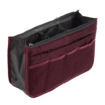 World Pride Nylon Handbag Insert Comestic Gadget Purse Organizer (Wine Red)