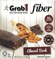 Grab1 Kosher Fiber Nutrition Bar 10g Protein Almond Bark Parve - 5 Bars