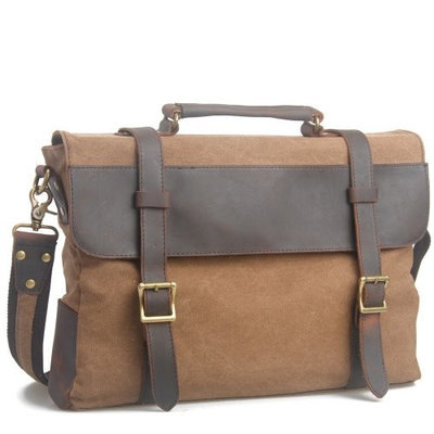 High Quality Mens Womens Canvas Leather Work Travel School Uni College Briefcase Satchel Messenger Shoulder Bag Fits A4 Paper / 15 inch Laptop