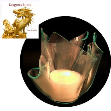 Vase Candle Dragon's Blood (Set of 3 Candles) and a Clear Satin Refillable Vase (Pack of 4)