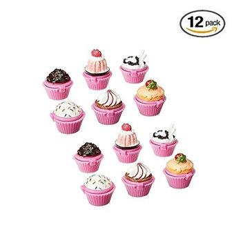 Ifavor123 Cupcake Novelty Lip Gloss Lip Balm Set – Assorted Designs for Girls Birthday Party Favors Goodie Bags Prize Giveaway Makeup Fun (12)
