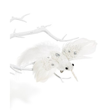 White Bird with Sequins Bird Clip Ornament, Created for Macy's