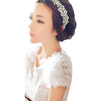 Frcolor Elegant Sparkling Crystal Rhinestones Hair Ribbon(White)