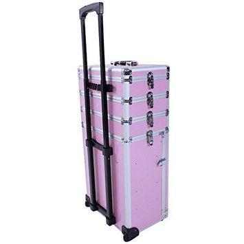 Soogo 4-in-1 Interchangeable Aluminum Rolling Makeup Case Cosmetic Train Box Trolley