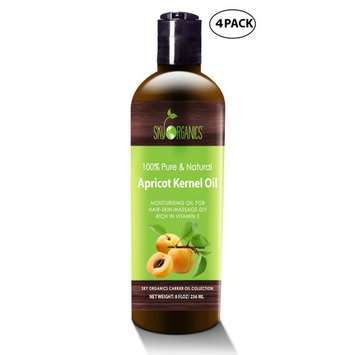 Apricot Kernel Oil by Sky Organics - 100% Pure, Natural & Cold-Pressed Apricot Oil - Ideal for Massage , Cooking and Aromatherapy- Rich in Vitamin A - 8oz (4 pack)
