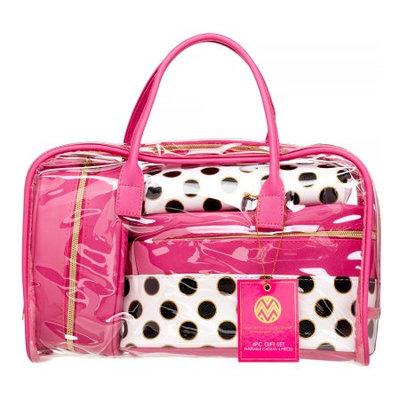 Upper Canada Soap Macbeth Tiffany Dot 4-Piece Gift Set, Pink