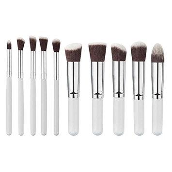 Gowind7 Makeup Brush Set, 10Pcs Professional Eyeshadow Blush Brushes Tools (White Silver)
