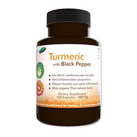 Botaniceutics Organic Turmeric and Black Pepper - 500 Mg - 600 Capsules - 5 Bottle Pack. No additives, no fillers. Natural curcumin and pepperine for natural, good health. [600]