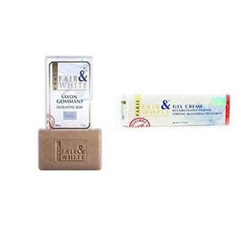 Fair & White Savon Gommant Exfoliating Soap 7oz & Whitening Gel Cream 1oz