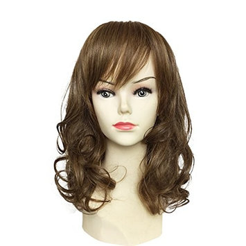 Namecute Curly Brown Wig Mid-length Synthetic Wigs with Side Bangs for Women + Free Wig Cap