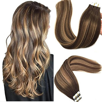 Googoo Tape in Hair Extensions Ombre Chocolate Brown to Caramel Blonde Balayage Human Hair Extensions Tape in Natural Hair Extensions Real Hair 20pcs 50g 18inch