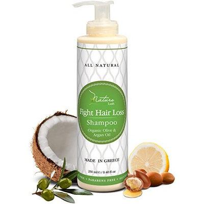 Nature Lush Organic Argan Anti-Hair Loss Shampoo with Rich Vitamins – Sulfate Free & Rich Saw Palmetto DHT Hair Root Treatment – For Men & Women - 100% Pure, Natural – All Hair Types