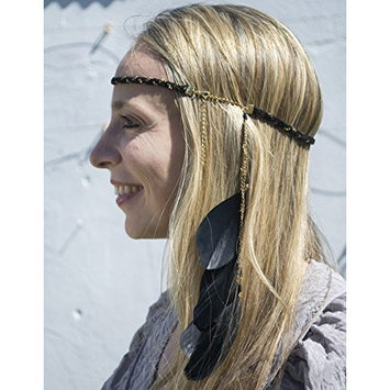 QueenMee Black Feather Headband 1920s Headband Boho Headband Boho Feather Headband Black Boho Headband Black Gold Feather Headband Feather Black Headpiece Headband Black Feather