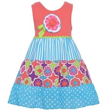 Rare Editions Little Girls Coral Polka Dot Stripe Floral Applique Dress 2T-6X