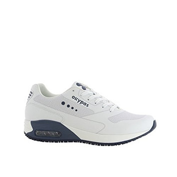 Oxypas Oxysport 'Justin' Comfortable Leather Professional Trainer Style Shoe With Anti-Slip and Anti-Static [White With Navy Trim, 40 EU]
