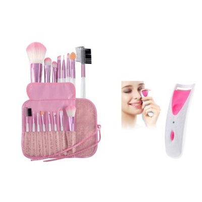 Zodaca Pro 8 pcs Makeup Brushes Set Powder Foundation Eye shadow Eyeliner Blush Lip Cosmetic Professional DIY Tools (8 Count)+ Pink Electric Eyelash Curler Makeup Clip Kit (2-in-1 Accessory Bundle)