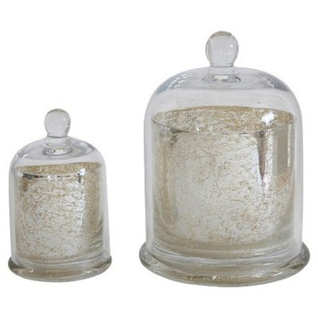 Mercury Glass Candle Holder with Cloche Antique Silver 7