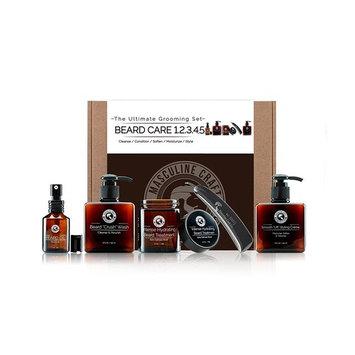 Masculine Craft Mens Beard Grooming Kit | Scented Beard Care Kit | Beard Wash Shampoo + Beard Softener Hydration Treatment + Beard Conditioner + Beard Oil Treatment + Stainless Steel Folding Beard Com
