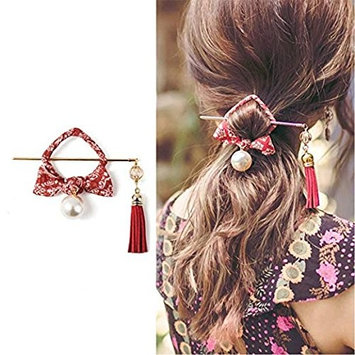 Wooden Hair Pin Sticks Pin Hairpin with Tassel Pearls Dangle Retro for Women Girls Long Hair Styling