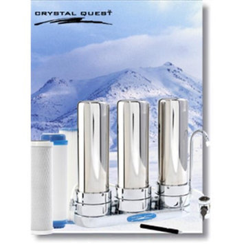 CRYSTAL QUEST CQE-CT-00118 Countertop Replaceable Triple Multi PLUS Water Filter System (StainlessS