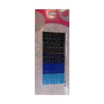 Black Brown Blue Bobby Pins Hair Sliders with Glitter - 2 Inches (60 Hair Pins)