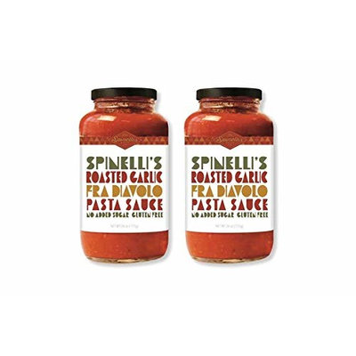 Spinelli's Gourmet Pasta Sauce Kit (2 JARS-Spicy Roasted Garlic fra Diavolo) All natural, Healthy, No Preservatives, Gluten Free, Vegan, Best Authentic...